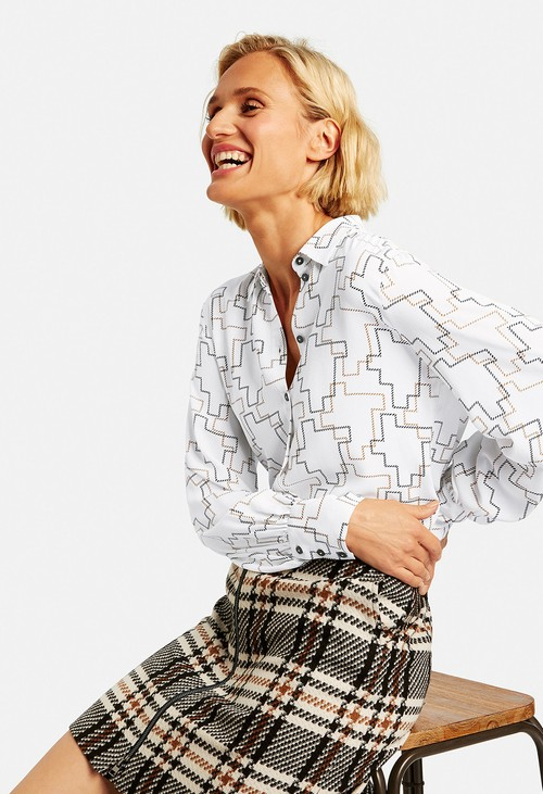 Gerry Weber White Long Sleeve Blouse with Long Sleeves