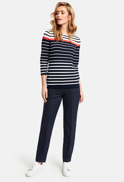 Gerry Weber Navy Trousers with Pressed Pleats