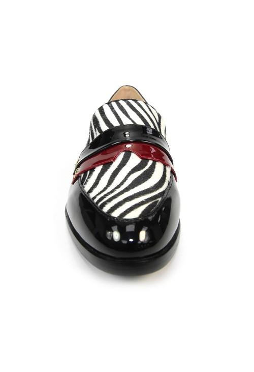 Lunar Black Loafer with Zebra Print