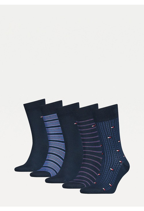 Tommy Hilfiger Socks 5-Pack Navy Micro Stripe Men's Socks Gift Set