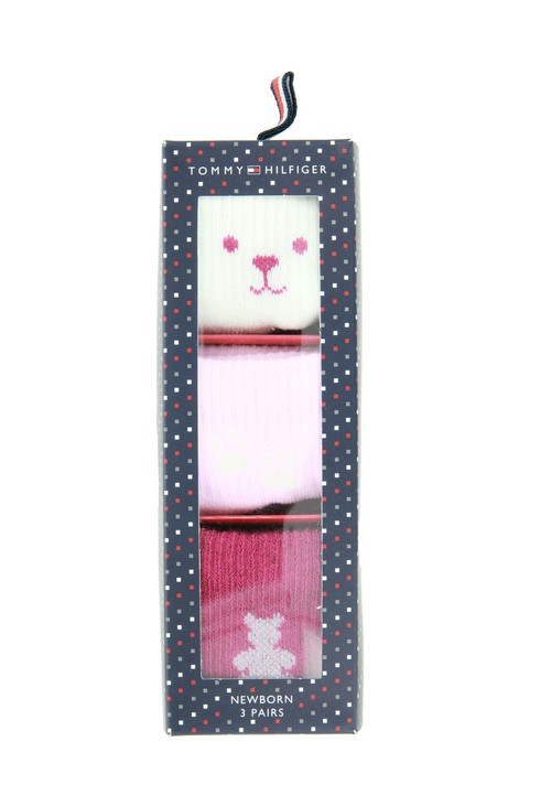 Tommy Hilfiger Socks 3-Pack New Born Teddy Pink Socks Gift Set
