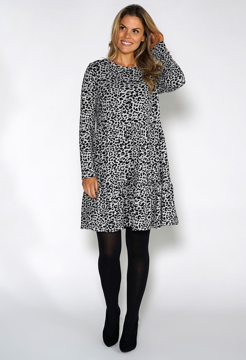 Pamela Scott Grey Mini Leopard Print Knit Dress