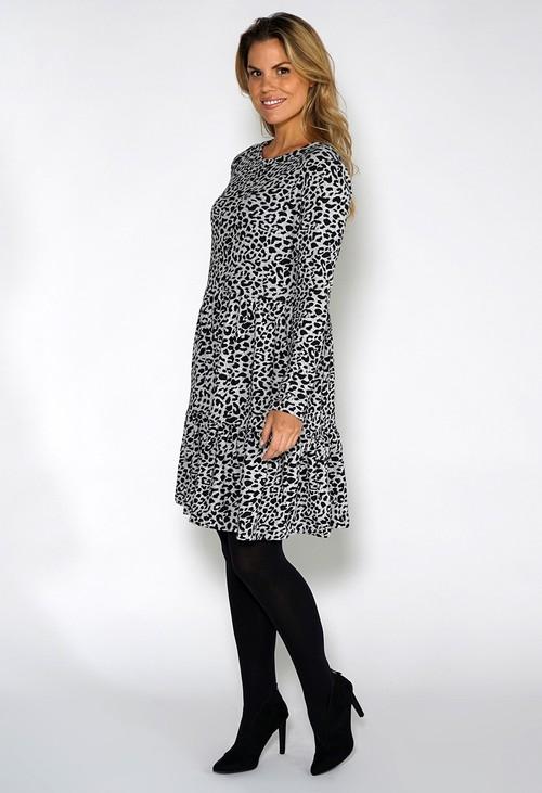 Pamela Scott Grey Mini Leopard Print Knit Dress