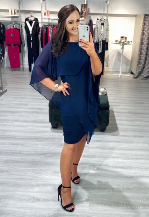 Joseph Ribkoff Midnight Blue Sheer Overlay Dress