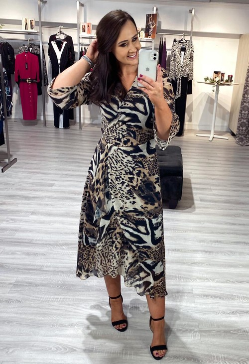 Joseph Ribkoff Leopard Print Wrap Style Dress