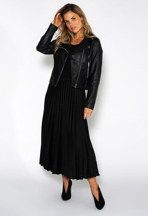 Zapara Black Midi Pleated Skirt