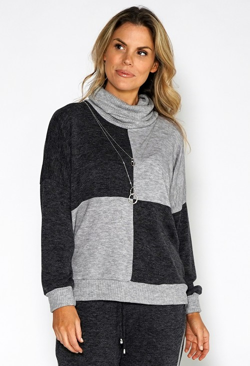 Sophie B Lux Lounge Grey Knit Jumper with Necklace Detail