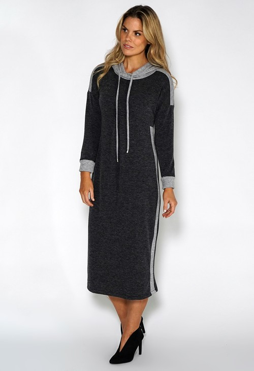 Sophie B Lux Lounge Grey Knit Hooded Dress