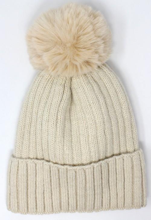 Pamela Scott Cream Bobble Hat