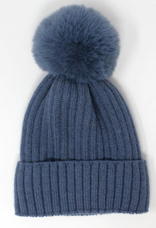 Pamela Scott BLUE BOBBLE HAT