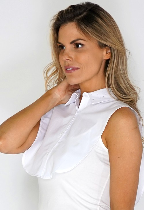 Twist White Diamante Collared Bib