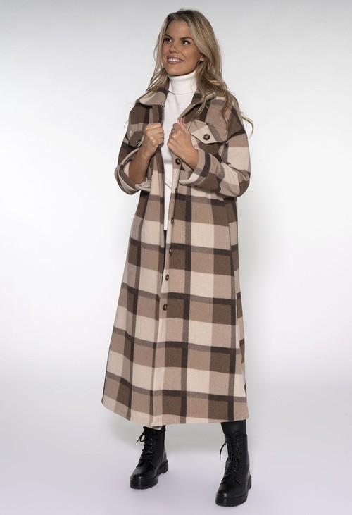 Pamela Scott Beige Check Long Coat