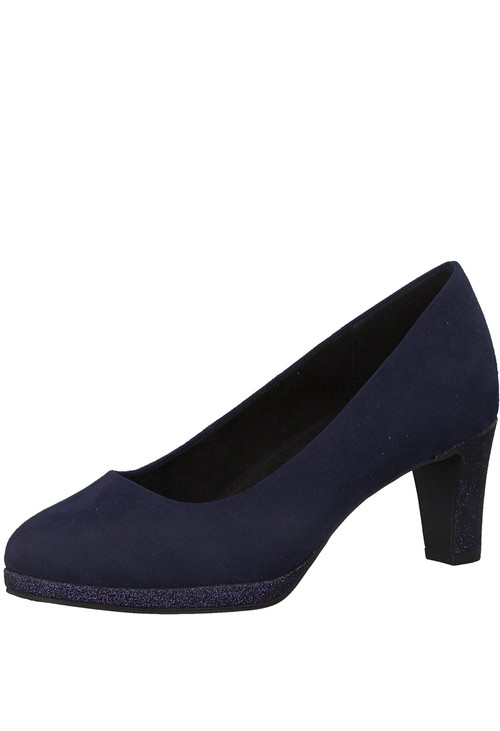 Marco Tozzi Navy Faux Suede Court Shoe
