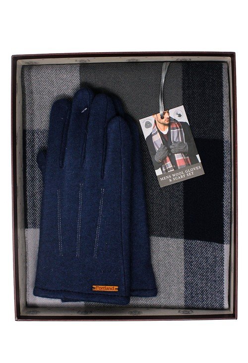 Something Special Navy Men's Wool Gloves and Scarf Set