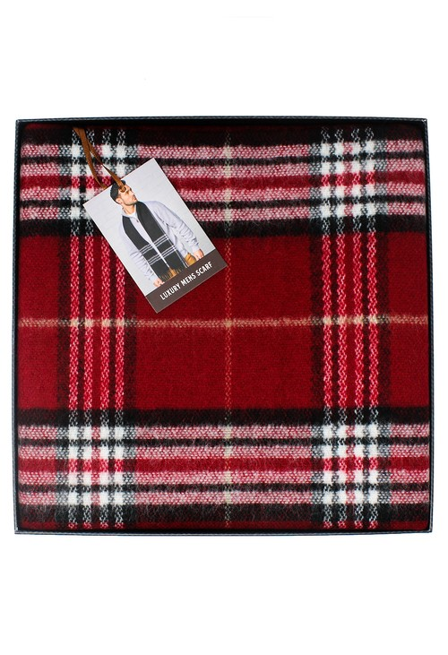 Something Special Men's Red Checked Scarf