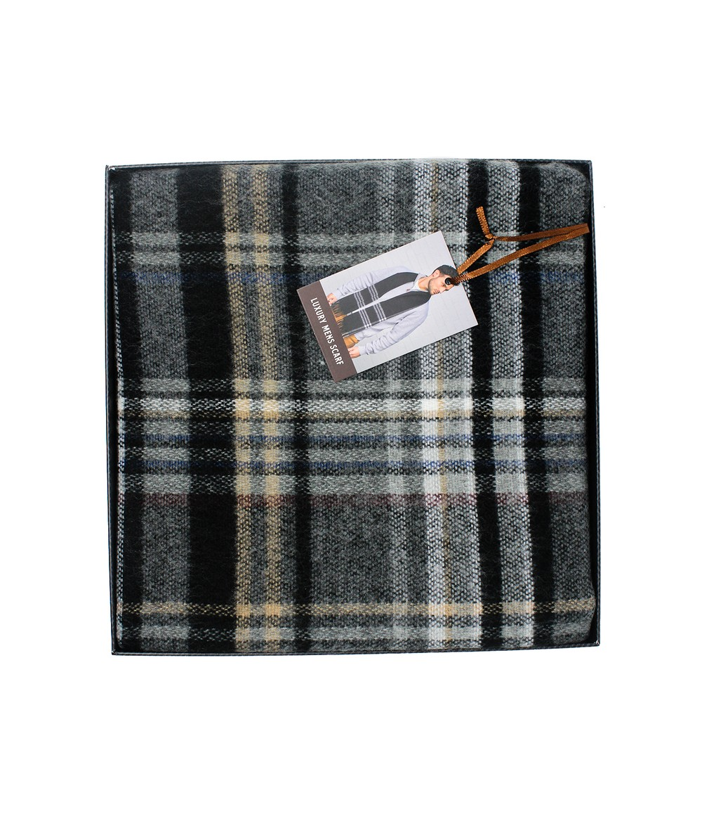 Something Special Men's Grey Checked Scarf