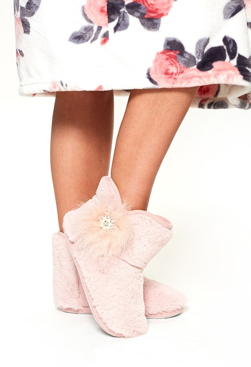 Something Special Luxury Dusty Pink Slipper Boots
