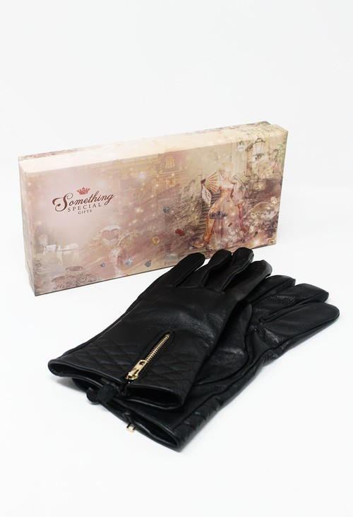 Something Special Black Genuine Leather Gloves