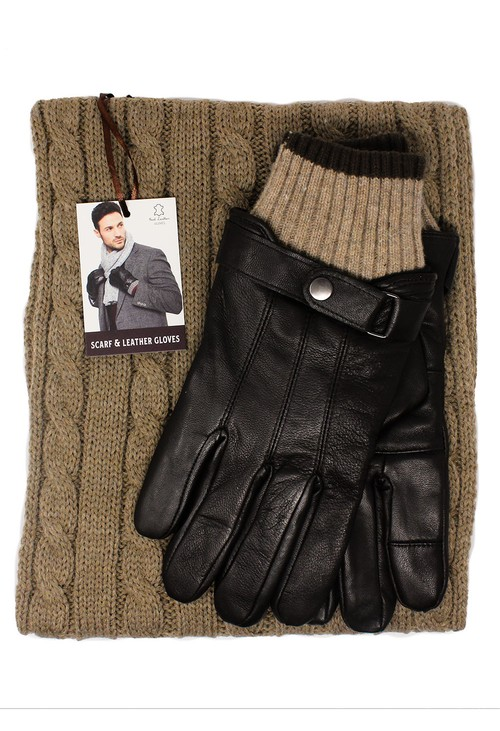 Something Special Men's Brown Leather Gloves and Scarf Set