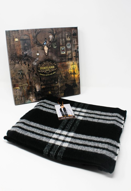 Something Special Men's Black Checked Scarf