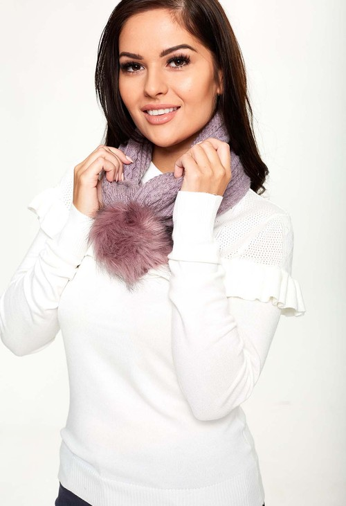 Something Special Mauve 2 Way Knit Scarf-Hat
