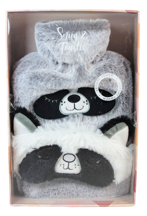 Something Special Raccoon Hot Water Bottle and Eye Mask Gift Set