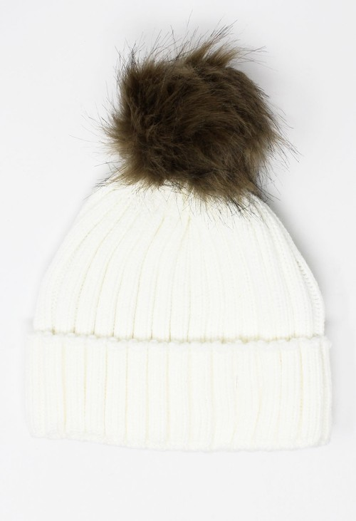 Something Special Kids Cream Mix and Match Pompom Hat