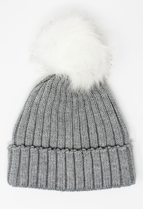 Something Special Kids Grey Mix and Match Pompom Hat