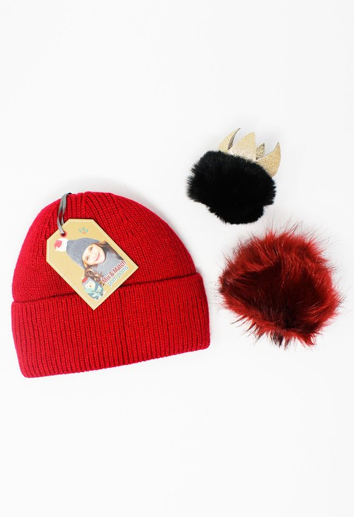 Something Special Kids Red Mix and Match Pompom  Knit Hat