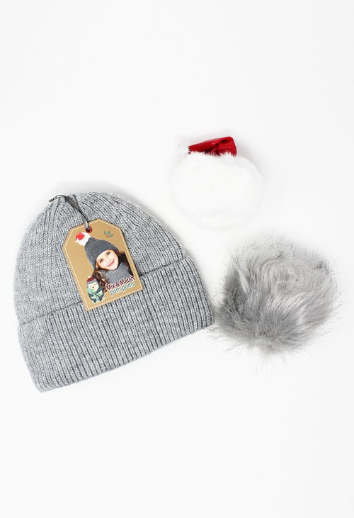 Something Special Kids Grey Glittered Mix and Match Pompom Hat