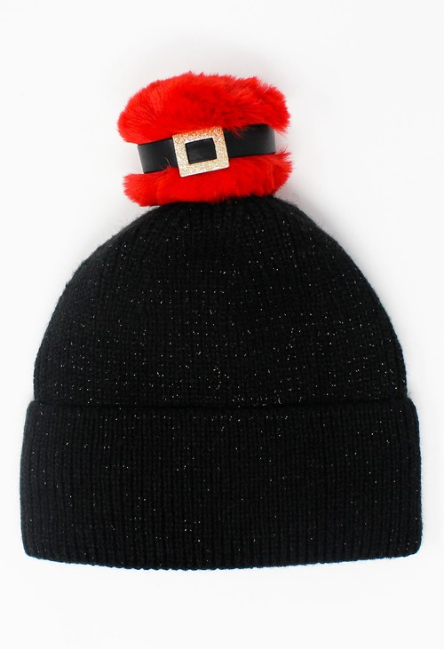 Something Special Kids Black Mix and Match Pompom Knit Hat