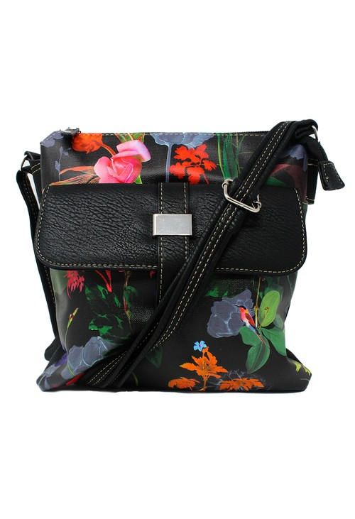 Pamela Scott Black and Floral Crossbody Bag