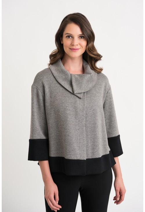 Joseph Ribkoff Grey Two Tone Shawl Sweater