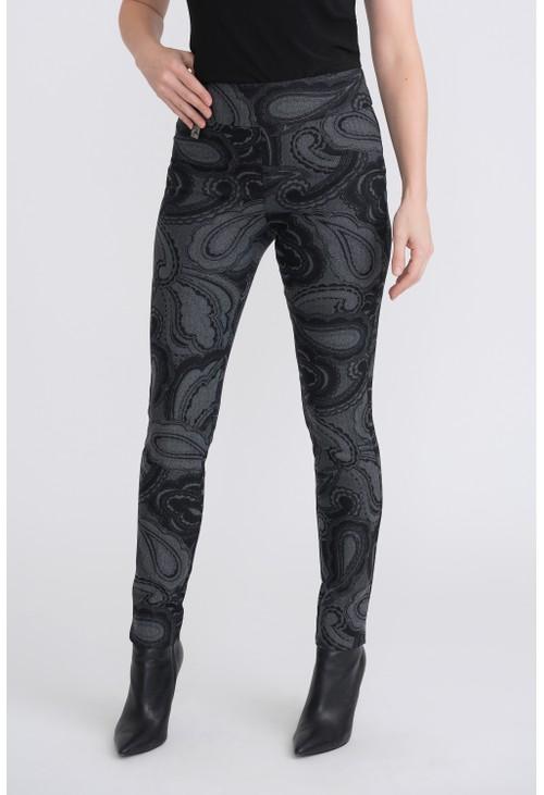 Joseph Ribkoff Grey Printed High Rise Trousers