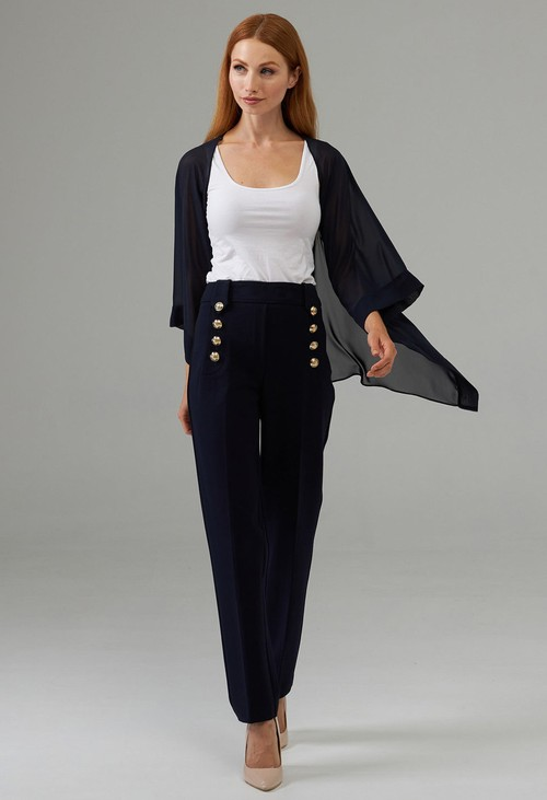 Joseph Ribkoff Midnight Blue Front Gold Button Trousers