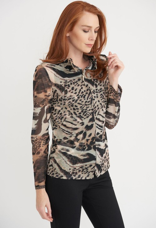 Joseph Ribkoff Leopard Print Sheer Top with Cami