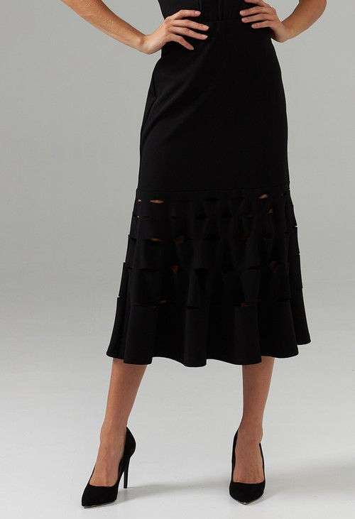 Joseph Ribkoff Black Pencil Skirt with Cut Out