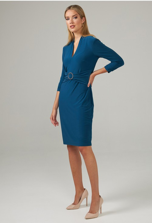 Joseph Ribkoff Blue V-Neck Waist Detail Dress