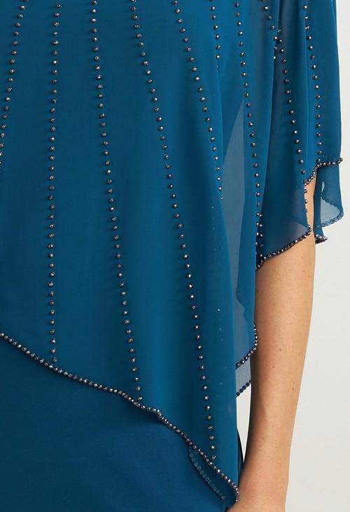 Joseph Ribkoff Peacock V-Neck Waist Detail Dress