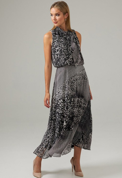 Joseph Ribkoff Grey Mixed Print Dress