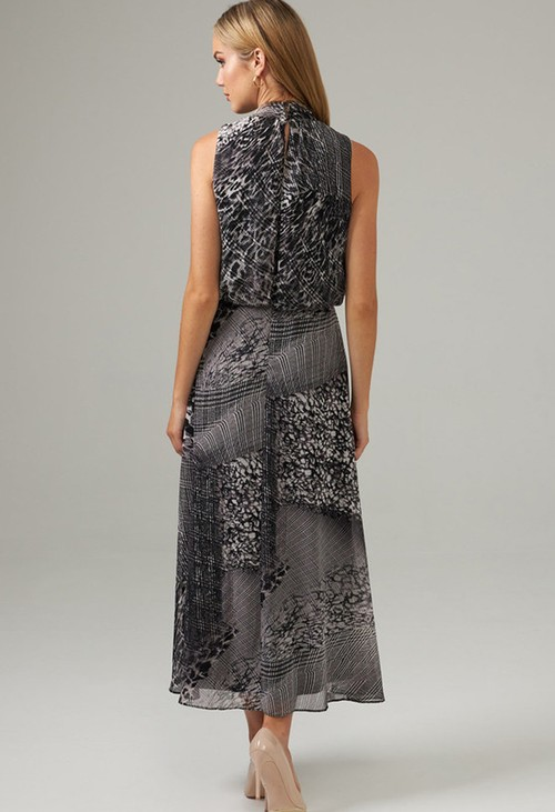 Joseph Ribkoff Grey Mixed Print Dress