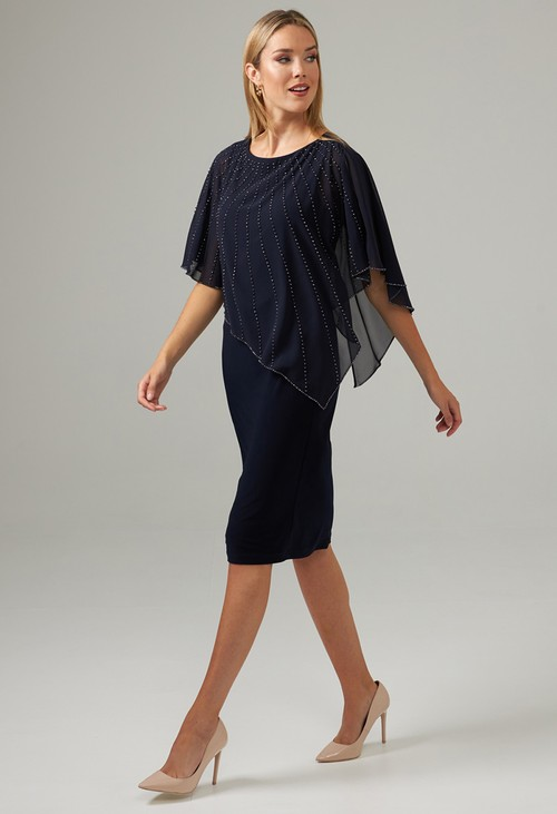 Joseph Ribkoff Midnight Blue Jewel Overlay Dress