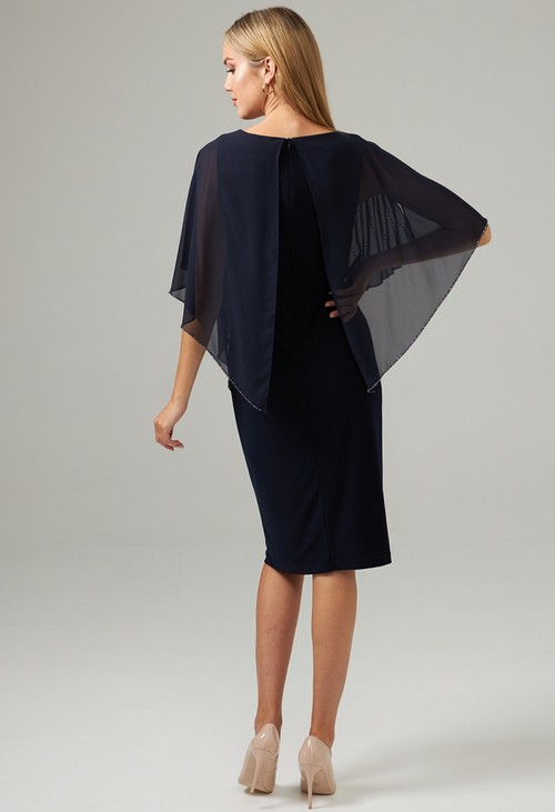Joseph Ribkoff Midnight Blue Jewel Overlay Dress