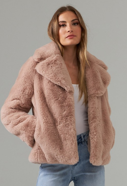 Joseph Ribkoff Blush Faux Fur Coat