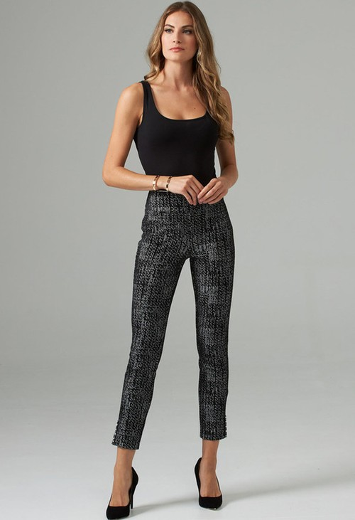 Joseph Ribkoff Black Pull on Trouser with Pearl Details