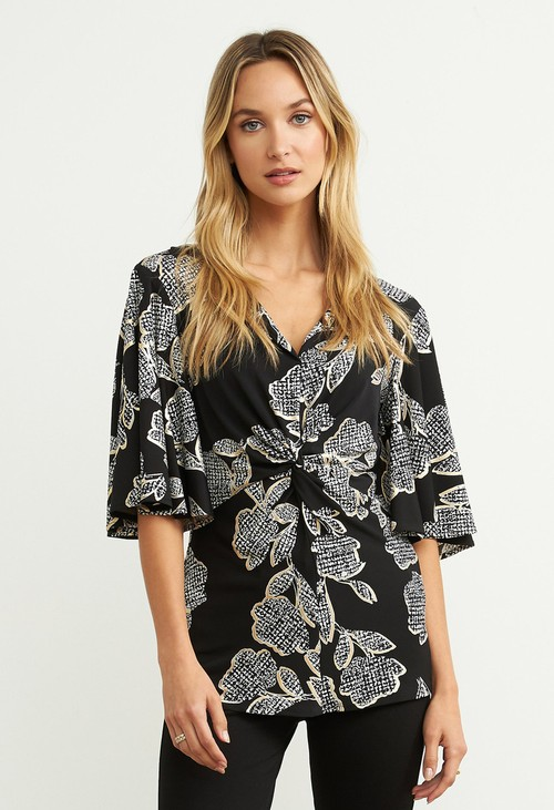 Joseph Ribkoff Black Floral Print Twist Top