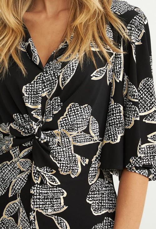 Joseph Ribkoff Black Floral Print Twist Top