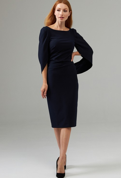 Joseph Ribkoff Midnight Blue Boat Neck Caped Dress