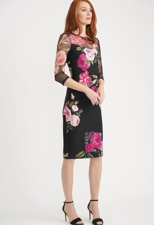 Joseph Ribkoff Black Rose Midi Dress