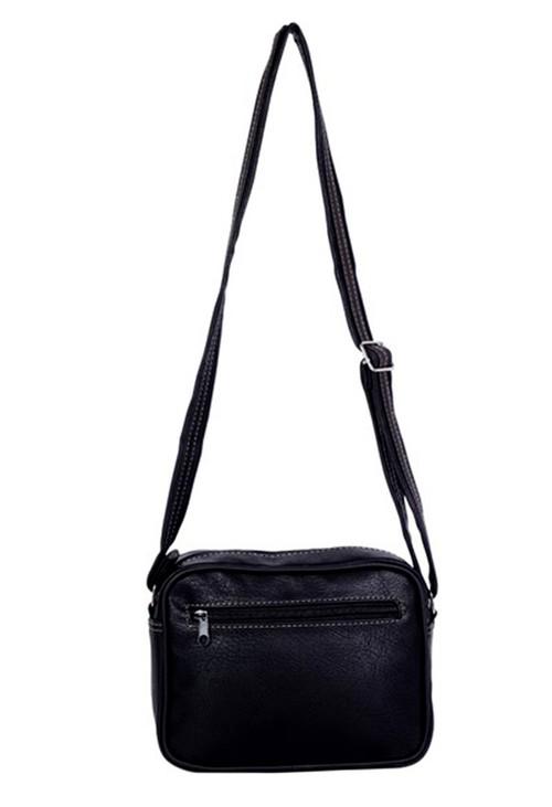 Pamela Scott Black Crossbody Bag with Front Pockets
